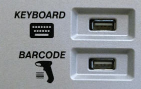 close up of the additional ports for keyboard and a barcode scanner