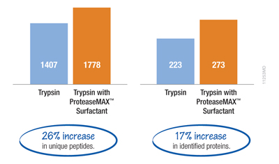 Example of improved protein identifications when using ProteaseMAX™ Surfactant, Trypsin Enhancer, for in-gel digestion of a complex protein sample.
