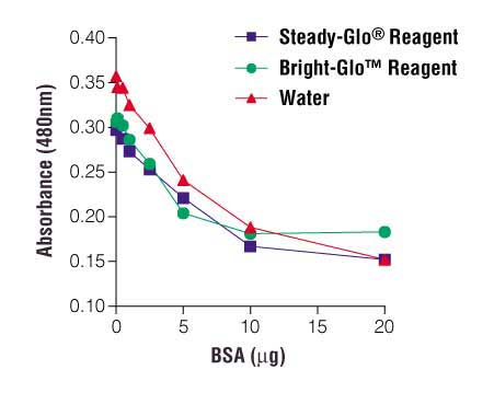 BSA standard curve generated using 0.1X Steady-Glo Reagent or 0.1X Bright-Glo Reagent (or water control) with the NI Protein Assay.