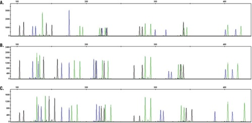 Representative electropherograms for direct amplification of DNA from buccal and blood samples preserved on various card types.