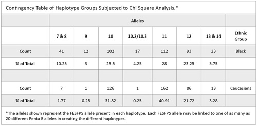Contingency table of haplotype groups subjected to chi square analysis.