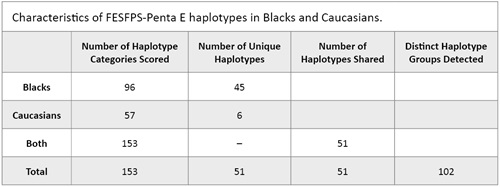 Characteristics of FESFPS-Penta E haplotypes in Blacks and Caucasians